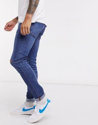 Topman skinny jeans with rips in mid wash blue