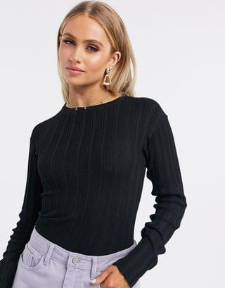 WOMEN crew neck ribbed sweater in black