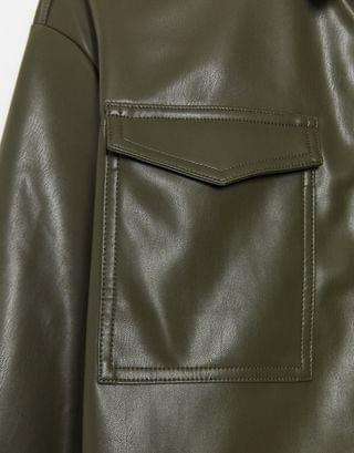 WOMEN Only leather look shirt jacket in green