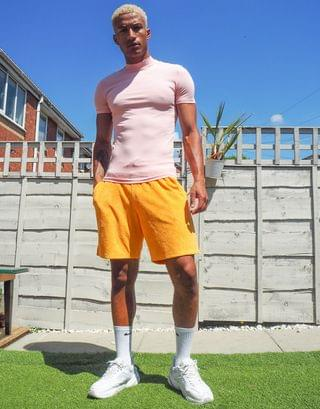 muscle fit turtleneck t-shirt in pink