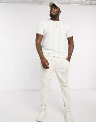New Look Plus ladder stitch polo in white