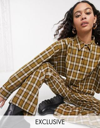WOMEN COLLUSION cropped shirt & wide leg check trousers co-ord