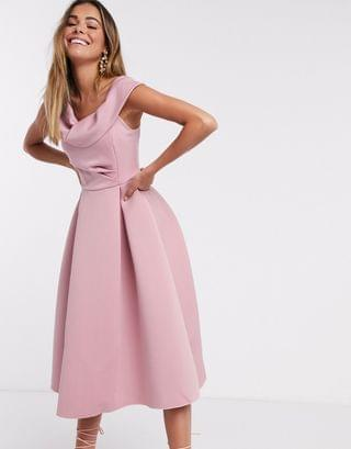 WOMEN drape fallen shoulder midi skater prom dress in rose