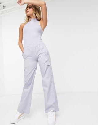 WOMEN Puma cargo wide leg pants in lilac exclusive to