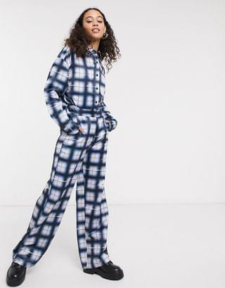 WOMEN COLLUSION oversized shirt & wide leg trousers in grid check