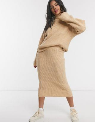 WOMEN fluffy roll neck sweater and skirt in camel
