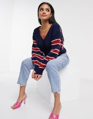 WOMEN V neck sweater with contrast stripe