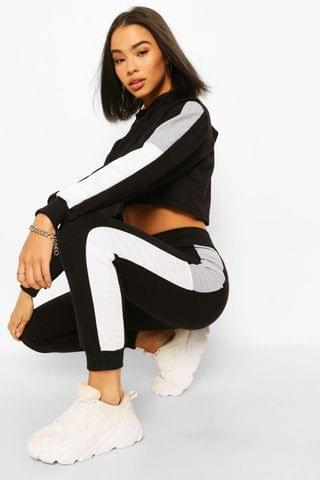WOMEN COLOUR BLOCK CROP HOODY TRACKSUIT