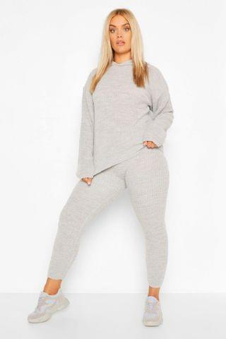 WOMEN Plus Hooded Knitted Lounge Set