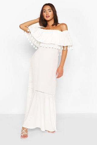 WOMEN Tassel Trim Off The Shoulder Maxi Dress