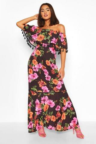 WOMEN Floral Print Off The Shoulder Tassel Maxi Dress
