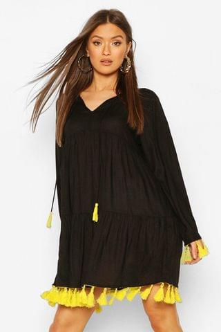 WOMEN Tassel Detail Smock Dress