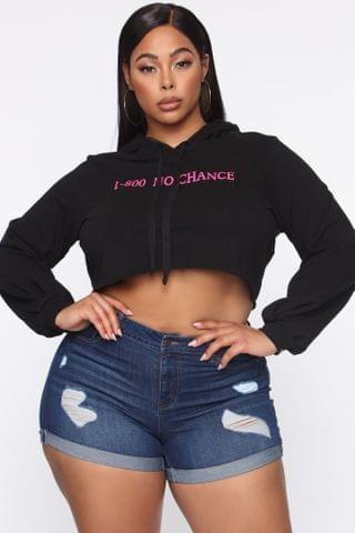 WOMEN No Chance Cropped Hoodie - Black