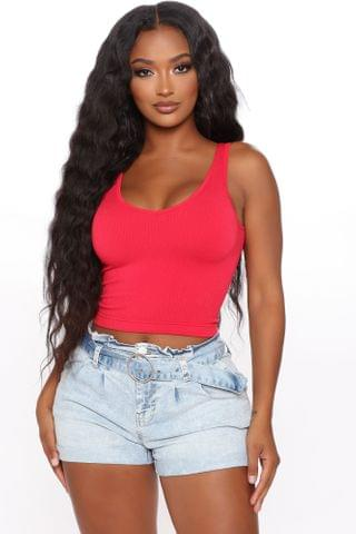 WOMEN Seamlessly Amazing Ribbed Top - Red