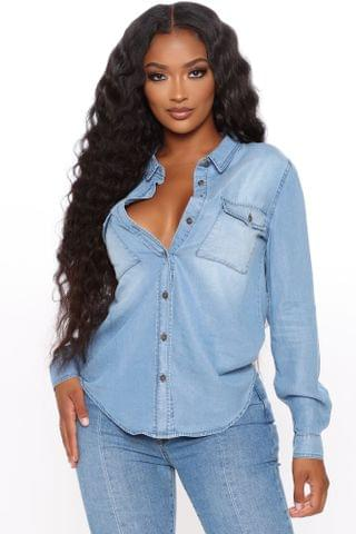 WOMEN Let's Cause Havoc Button Down Shirt - Medium Blue