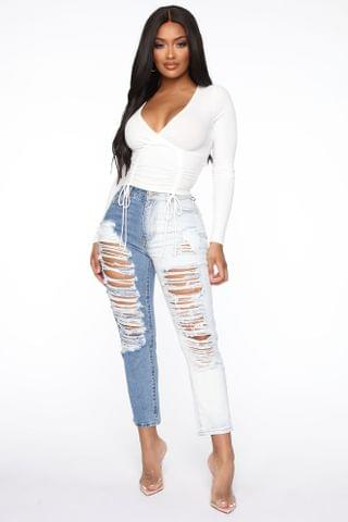 WOMEN Two Sided Story Distressed Straight Leg Jeans - Light Blue Wash