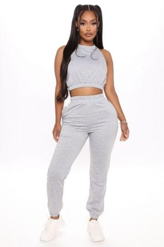WOMEN I'd Rather Be Home Tank And Jogger Set - Heather Grey