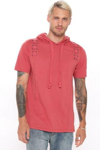 MEN X Marks The Spot Hooded Tee - Red