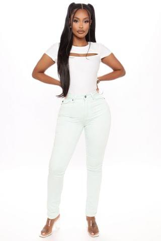 WOMEN Practically Perfect Pastel Skinny Jeans - Mint