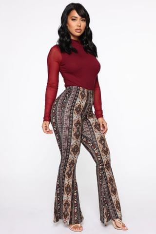 WOMEN Trying To Meditate Flare Pants - Multi Color