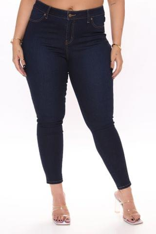 WOMEN Flex Game Strong Low Rise Skinny Jeans - Dark Blue Wash