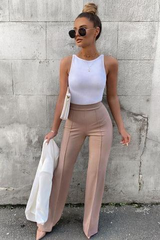 WOMEN Victoria High Waisted Dress Pants - Taupe