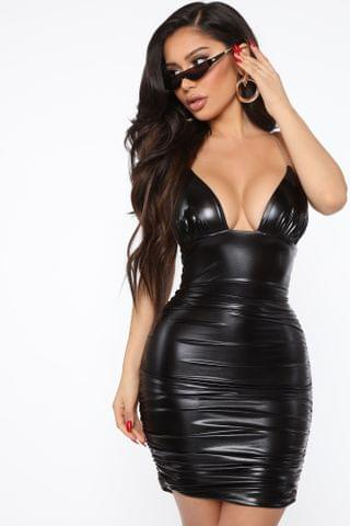 WOMEN Wild And Ruched Faux Leather Mini Dress - Black