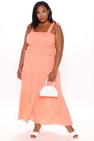 WOMEN Easy Days Tiered Maxi Dress - Coral