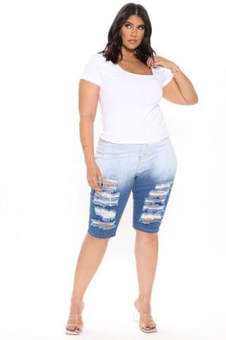 WOMEN My Blue Fantasy Distressed Ombre Knee Shorts - Blue/combo