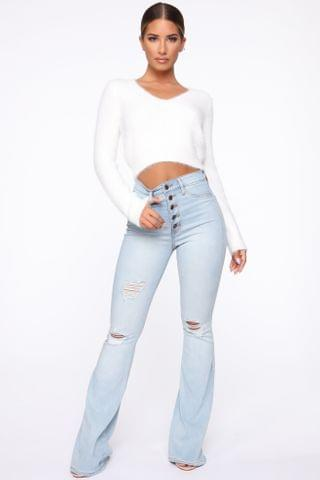WOMEN Not So Common Distressed Flare Jean- Light Wash
