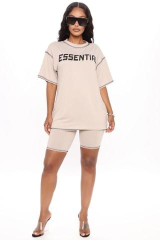 WOMEN Essential Attire Biker Short Set - Oatmeal