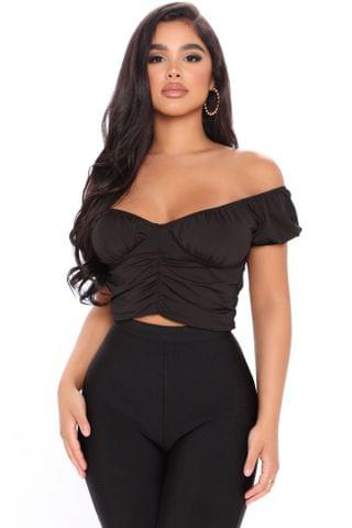 WOMEN The One To Hate Ruched Crop Top - Black