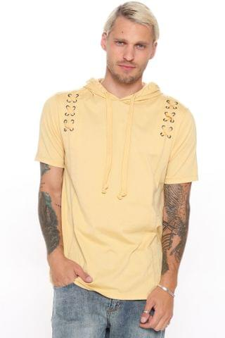 MEN X Marks The Spot Hooded Tee - Tan