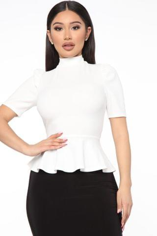 WOMEN Just Roll With It Short Sleeve Peplum Top - White