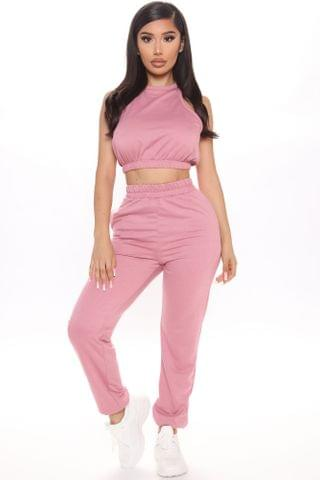 WOMEN I'd Rather Be Home Tank And Jogger Set - Pink