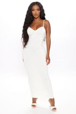 WOMEN Feel Your Best Ruched Maxi Dress - White