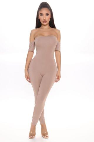 WOMEN Soothe As Ever Short Sleeve Jumpsuit - Taupe