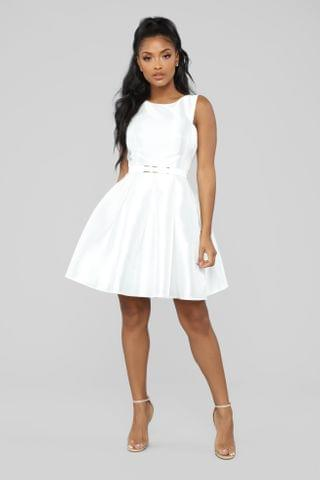 WOMEN Sandra D Fit And Flare Dress - White