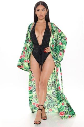 WOMEN Tropical Summer Swim Cover Up Kimono - Green/combo