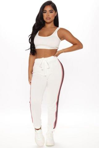 WOMEN Oh So Comfortable French Terry Athletic Jogger - White