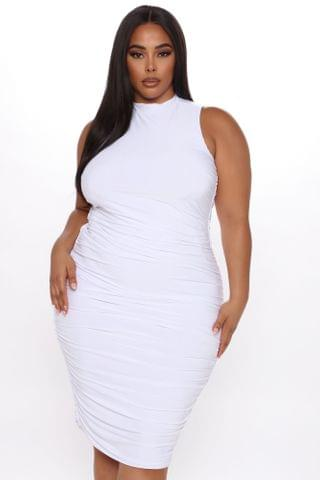 WOMEN Perfectly Polished Ruched Midi Dress - White