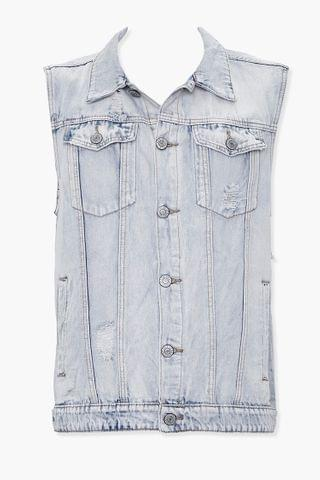 MEN Checkered Denim Vest