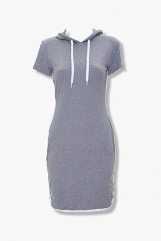 WOMEN Short-Sleeve Mini Hoodie Dress