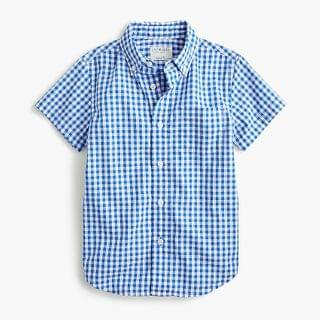 KIDS Boys' short-sleeve stretch poplin button-down in gingham