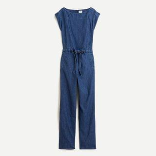 WOMEN Boatneck jumpsuit in chambray