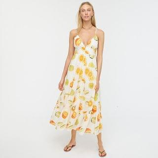 WOMEN Edie Parker X J.Crew button-front tiered maxi dress in limes and oranges
