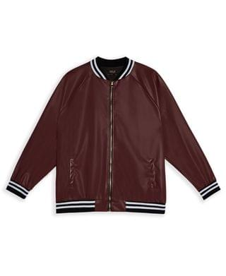 MEN MVP Collections Men's Big & Tall Faux Leather Stripe Bomber Jacket