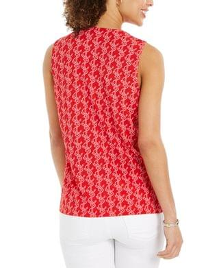 WOMEN Petite Textured Anchor-Print Tassel Top, Created for Macy's