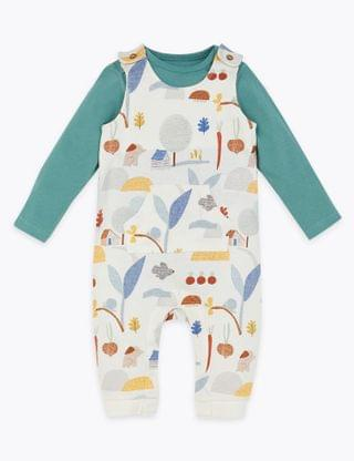 KIDS 2 Piece Pure Cotton Woodland Print Outfit (0-12 Mnths)