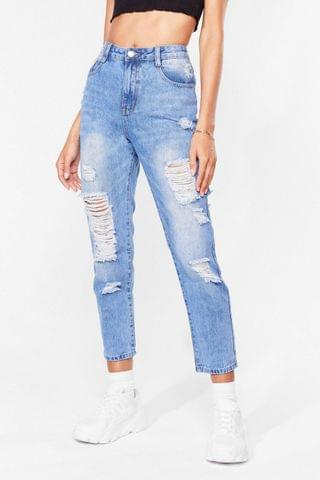 WOMEN Give It Raw Best Shot Distressed Jeans